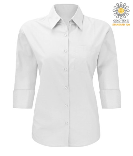 work uniform shirt with 3/4 sleeves White color