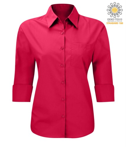 work uniform shirt with 3/4 sleeves red color