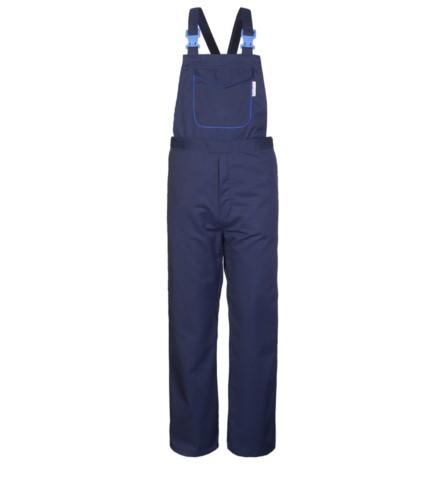 Antacid and antistatic bibs, central pocket closed with velcro with contrasting profile, adjustable shoulder straps, certified EN 13034, EN 1149-5