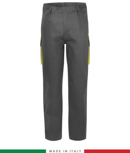 Two-tone multipro trousers, multi-pocket, coloured profile on the pockets, Made in Italy, certified EN 11611, EN 1149-5, EN 13034, CEI EN 61482-1-2:2008, EN 11612:2009, color grey and yellow