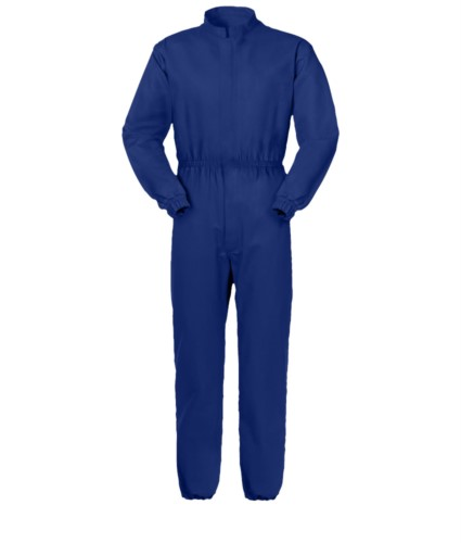 Anti tangle coverall, covered central zip closure, mandarin collar, breast pocket closed with velcro, blue color. UNI EN 510 and UNI EN 340: 04 Certificate