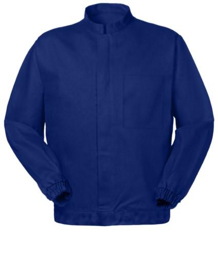 Anti tangle jacket, central zipper, mandarin collar, blue color. UNI EN 510 and UNI EN 340: 04 Certificate