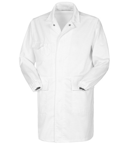 Antacid and antistatic lab coat, button closure, two patch pockets and one pocket, elasticated cuff, certified EN 1149-5, EN 13034, colour white