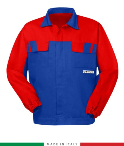 Multipro two-tone jacket, covered button closure, two chest pockets, elasticated cuffs, colour inserts on shoulders and inside collar, Made in Italy, colour royal blue/grey