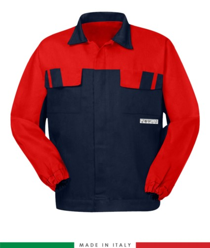 Multipro two-tone jacket, covered button closure, two chest pockets, elasticated cuffs, colour inserts on shoulders and inside collar, Made in Italy, colour navy blue /red