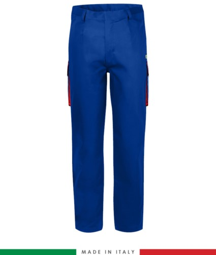 Two-tone multipro trousers, multi-pocket, coloured profile on the pockets, Made in Italy, certified EN 11611, EN 1149-5, EN 13034, CEI EN 61482-1-2:2008, EN 11612:2009, color royal blue and red