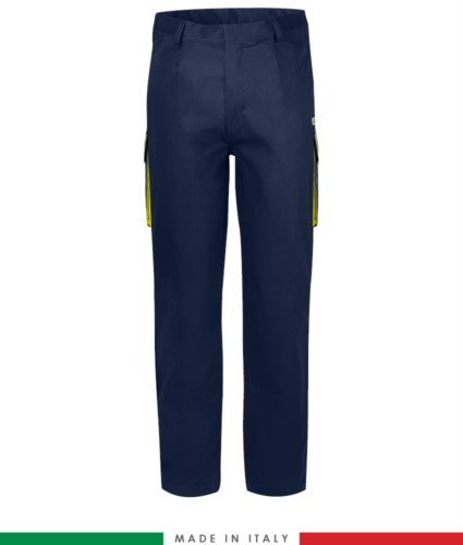 Two-tone multipro trousers, multi-pocket, coloured profile on the pockets, Made in Italy, certified EN 11611, EN 1149-5, EN 13034, CEI EN 61482-1-2:2008, EN 11612:2009, color navy blue and yellow