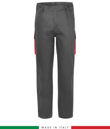 Two-tone multipro trousers, multi-pocket, coloured profile on the pockets, Made in Italy, certified EN 11611, EN 1149-5, EN 13034, CEI EN 61482-1-2:2008, EN 11612:2009, color grey and red