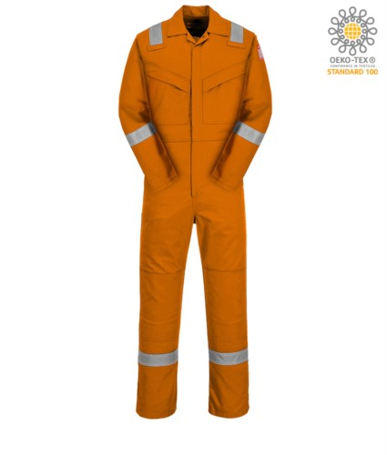 Antistatic and fireproof coverall, adjustable cuff, sleeve pocket, side access, tape measure pocket, orange colour. CE certified, NFPA 2112, EN 11611, EN 11612:2009, ASTM F1959-F1959M-12, EN 1149-5, CEI EN 61482-1-2:2008