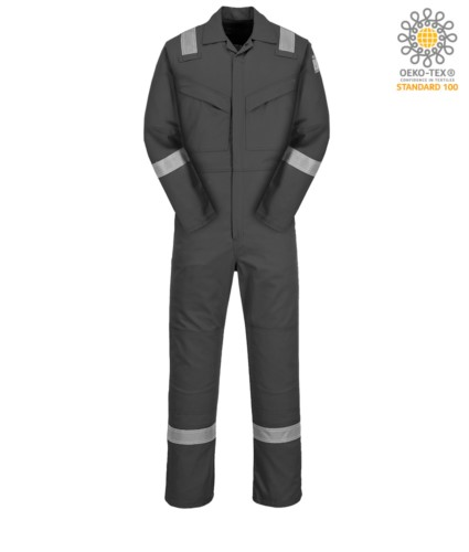 Antistatic and fireproof coverall, adjustable cuff, sleeve pocket, side access, tape measure pocket, grey colour. CE certified, NFPA 2112, EN 11611, EN 11612:2009, ASTM F1959-F1959M-12, EN 1149-5, CEI EN 61482-1-2:2008