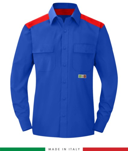 Two-tone multi-pro shirt, snap button closure, two chest pockets, coloured inserts on shoulders and inside collar, certified EN 1149-5, EN 13034, UNI EN ISO 14116:2008, color royal blue and red