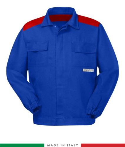 Two-tone multipro jacket, covered button closure, two chest pockets, elasticated cuffs, colour inserts on shoulders and inside collar, Made in Italy, colour roayl blue/ red