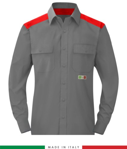 Two-tone multi-pro shirt, snap button closure, two chest pockets, coloured inserts on shoulders and inside collar, certified EN 1149-5, EN 13034, UNI EN ISO 14116:2008, color grey /red