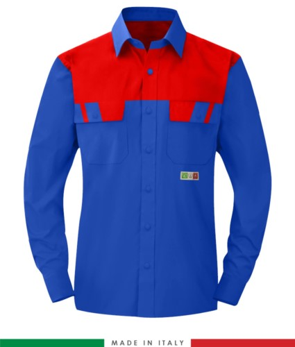 Two-tone multipro shirt, long sleeves, two chest pockets, Made in Italy, certified EN 1149-5, EN 13034, EN 14116:2008, color royal blue/ red