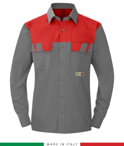 Two-tone multipro shirt, long sleeves, two chest pockets, Made in Italy, certified EN 1149-5, EN 13034, EN 14116:2008, color grey/red