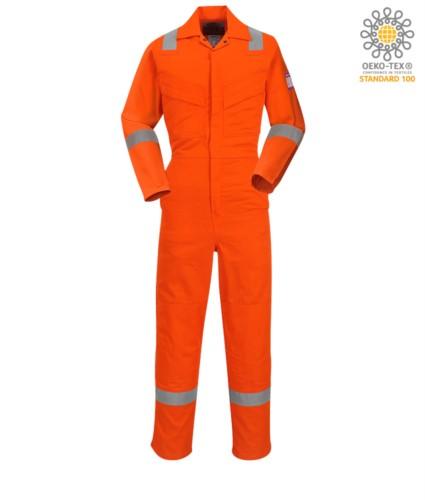 tistatic and fireproof coverall, adjustable cuff, sleeve pocket, side access, tape measure pocket, orange colour. CE certified, EN 11611, EN 11612:2009, ASTM F1959-F1959M-12, EN 1149-5, CEI EN 61482-1-2:2008