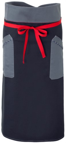 Chef apron, front fastening at waist with red ribbon, two front pockets, color blue grey