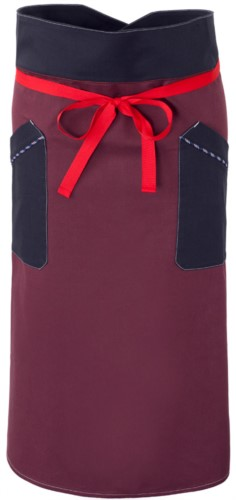 Chef apron, front fastening at waist with red ribbon, two front pockets, color burgundy