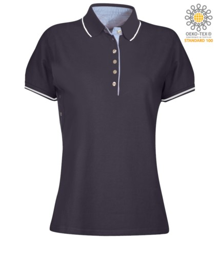 Women two tone short sleeved polo shirt, light blue Oxford interior, collar and sleeves with contrasting detail. navy blue / white colour