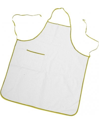 Two tone apron with pocket, border and sides with contrasting laces, patch pocket on the right side, with contrasting colour border, stitching with thread, colour white , border yellow