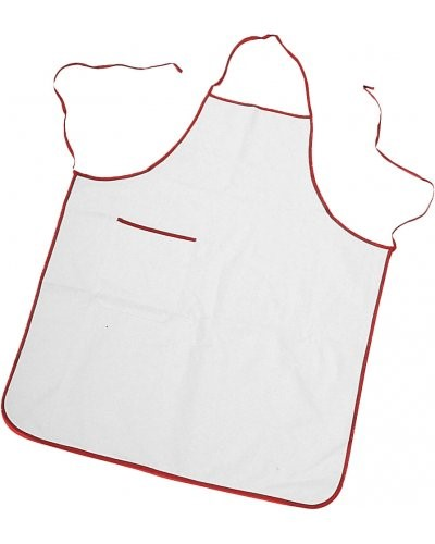 Two tone apron with pocket, border and sides with contrasting laces, patch pocket on the right side, with contrasting colour border, stitching with thread, colour white , border red