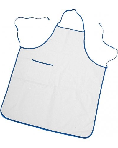 Two tone apron with pocket, border and sides with contrasting laces, patch pocket on the right side, with contrasting colour border, stitching with thread, colour white, border royal blue