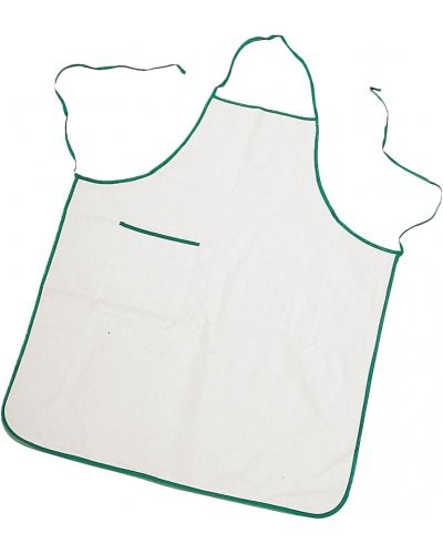 Two tone apron with pocket, border and sides with contrasting laces, patch pocket on the right side, with contrasting colour border, stitching with thread, colour white, border green