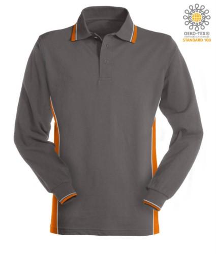 Bicolor long sleeve polo