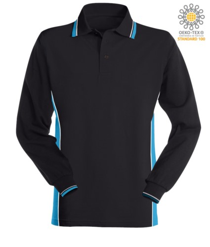 Bicolor long sleeve polo