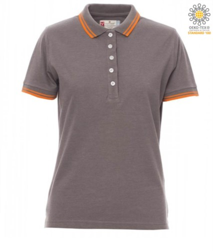Women two tone work polo shirt with contrasting collar and sleeve ends. melange grey colour, orange border