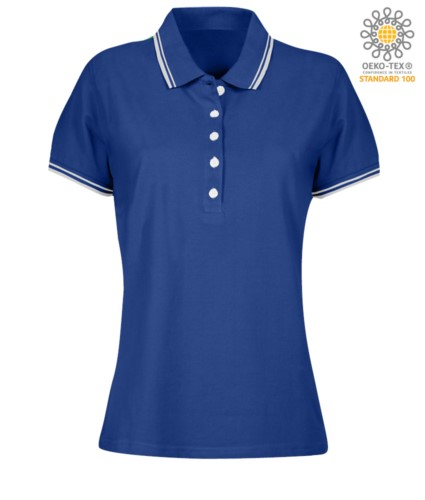 Women two tone work polo shirt with contrasting collar and sleeve ends. royal blue colour, white border