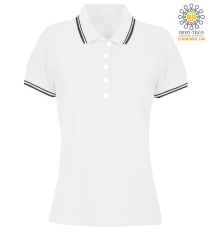 Women two tone work polo shirt with contrasting collar and sleeve ends. white colour, navy blue border