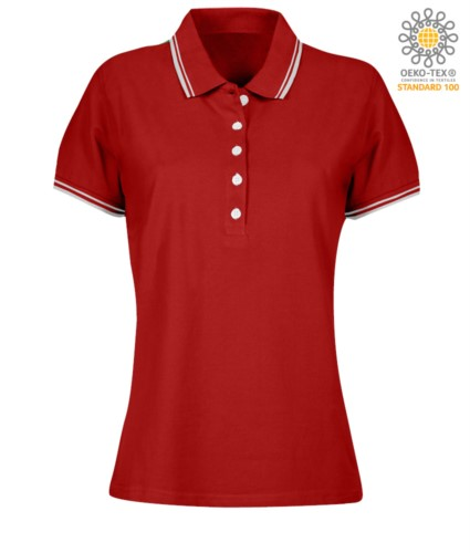 Women two tone work polo shirt with contrasting collar and sleeve ends. red colour, white border