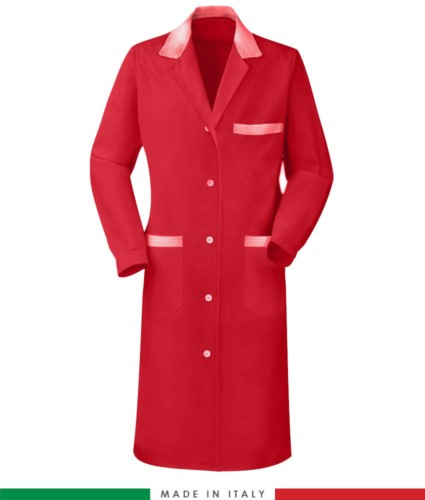 red long sleeved work gown