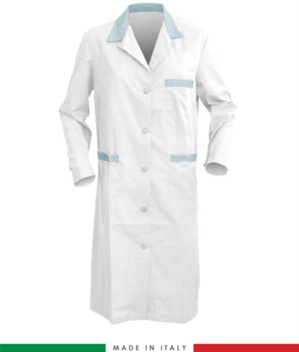 white and blue light long sleeved work gown
