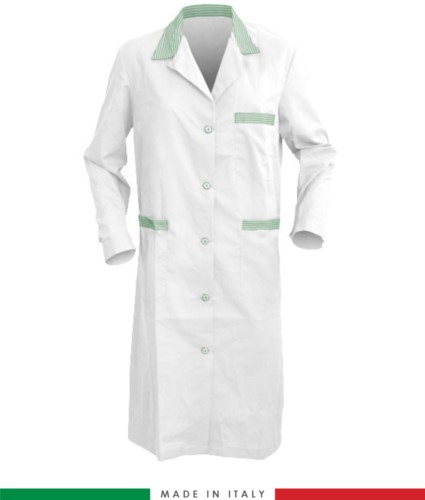 White and Green long sleeved work gown