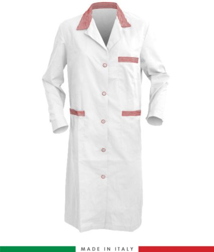 White and Red long sleeved work gown
