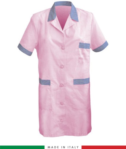 Women short sleeved working shirt pink colored