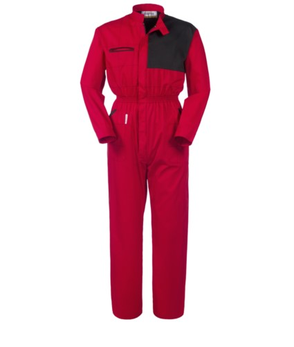 Full length overalls, multi-pocket with contrasting detail on the chest, elastic on the waist and Korean collar