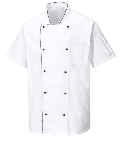 Ventilated chef jacket, short sleeves, anti-frizz fabric, color white