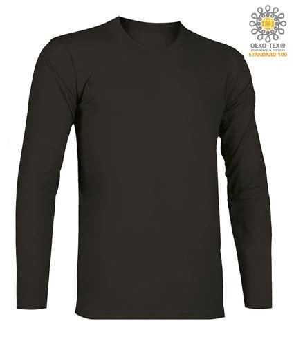 T-Shirt with long sleeves, crew neck, 100% Cotton, colour black