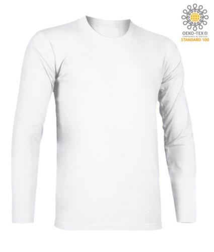 T-Shirt with long sleeves, crew neck, 100% Cotton, colour white