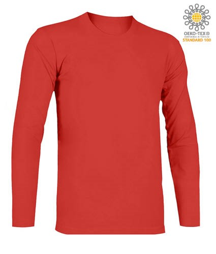 T-Shirt with long sleeves, crew neck, 100% Cotton, colour red