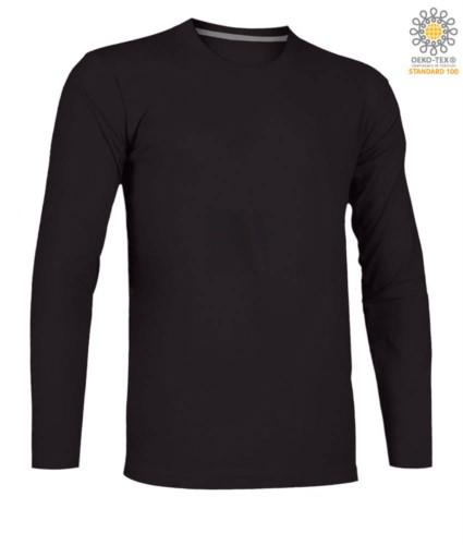 Women long sleeved crew neck cotton T-shirt. Colour black