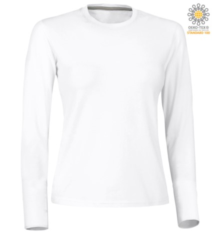 Women long sleeved crew neck cotton T-shirt. Colour White