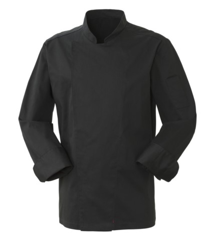 Men cook jacket, snap button closure, slim fit, color black