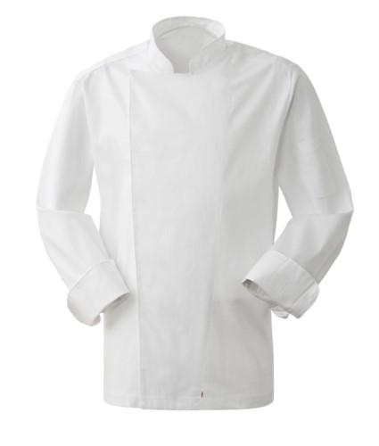 Men cook jacket, snap button closure, slim fit, color white