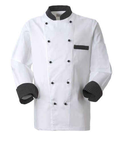 Chef jacket, front closure with double-breasted buttons, left side pocket, 3/4 length sleeve, colour black pinstripe white