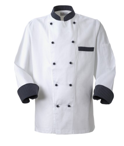 Chef jacket, front closure with double-breasted buttons, left side pocket, 3/4 length sleeve, colour blue pinstripe white