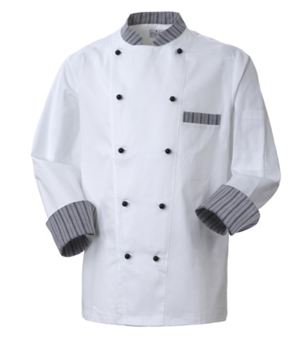 Chef jacket, front closure with double-breasted buttons, left side pocket, 3/4 length sleeve, colour white ribbed gray black